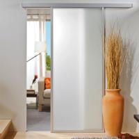 Glasschiebetür 865x2035mm umlaufendes Alu-Profil Weiß foliert Komplettset ohne SoftClose