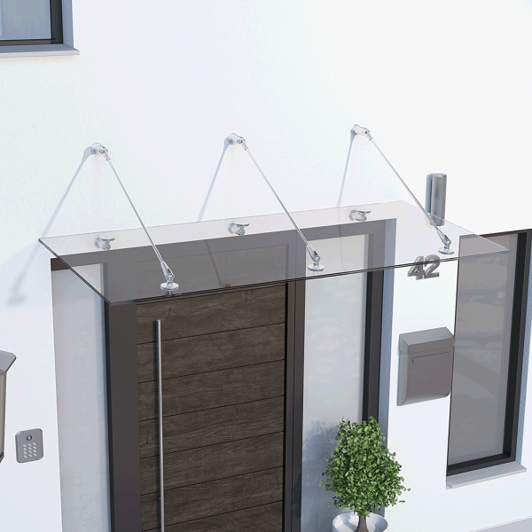 Glasline Davita Vordach 1600x900mm, Echtglas VSG 12mm klar, Edelstahl V2A