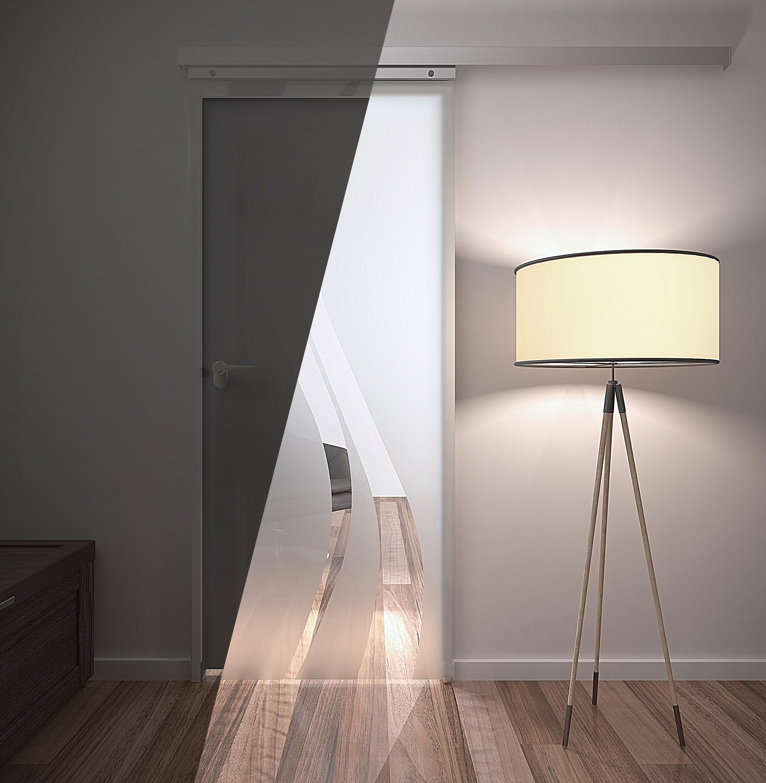 Schiebetüren Profi eine schiebetür mit satiniertem glas erzeugt harmonisches licht