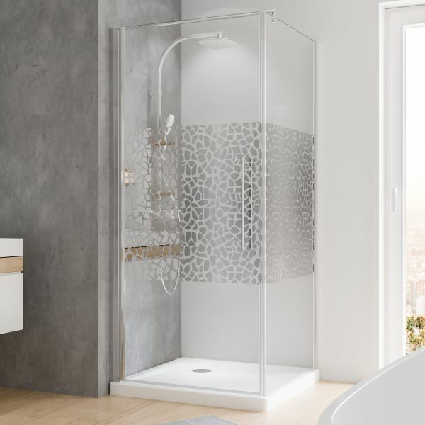Drehtür mit Seitenwand Terrazzo Echtglas 900x900 mm